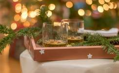 This simple DIY is right up my alley...a little Frog Tape, a paper punch and Krylon Copper Spray Paint. Make this painted tray and painted votives to give a little copper warmth to your Christmas and Holiday home decor...or anytime decor.
