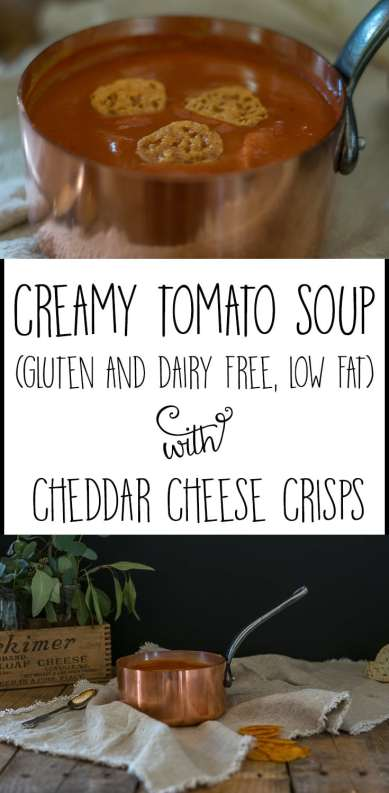 Recipe for a Creamy Tomato Soup which is low-fat, gluten-free and dairy-free. White bean puree is the secret ingredient for this creamy soup.