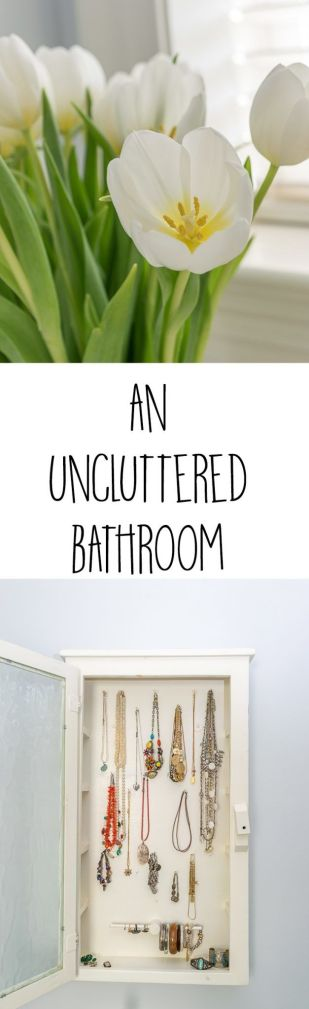A couple of philosophies, suggestions and storage ideas I use to declutter, organize and maintain my uncluttered bathroom, and links to 7 other ideas from my blogger friends.
