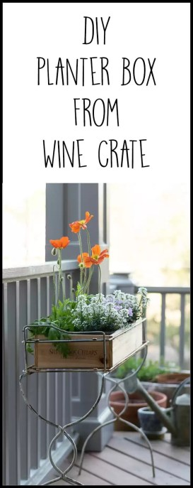 What a great upcycle and repurpose! A wooden wine crate makes a great planter for a container garden.. An easy DIY for porch decor.
