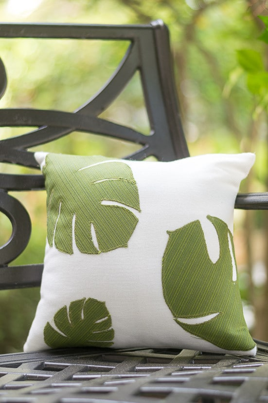 How to Make Bright Tropical Leaf Throw Pillows with Cricut Nourish and Nestle