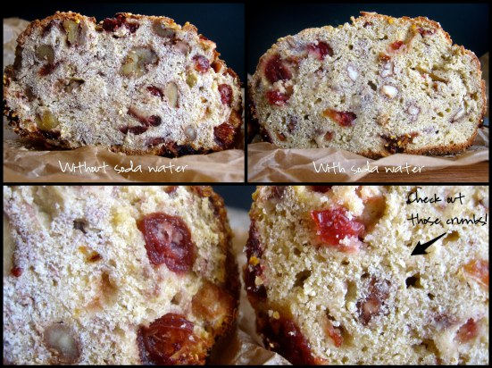 using soda water helps gluten-free cranberry walnut bread rise