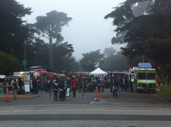Off the Grid Food Trucks on Haight Street on a foggy summer's day