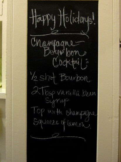 vanilla champagne bourbon cocktail on chalkboard contact paper