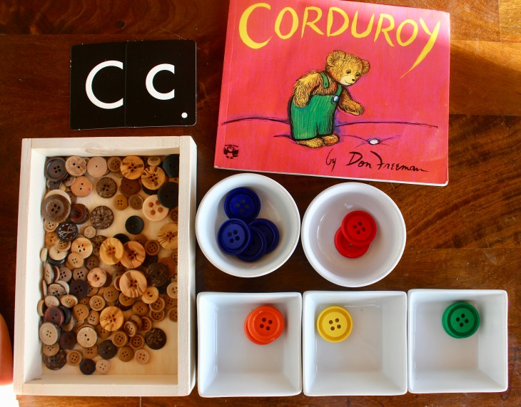 sorting buttons with letter c unit