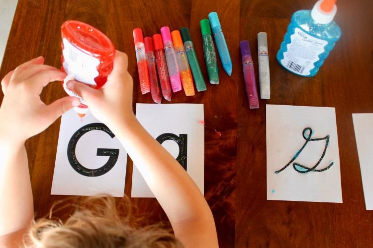 glitter glue letters