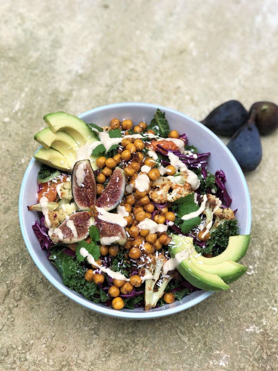 Crunchy Coconut Kale and Chickpea Salad with Figs and Tahini Dressing