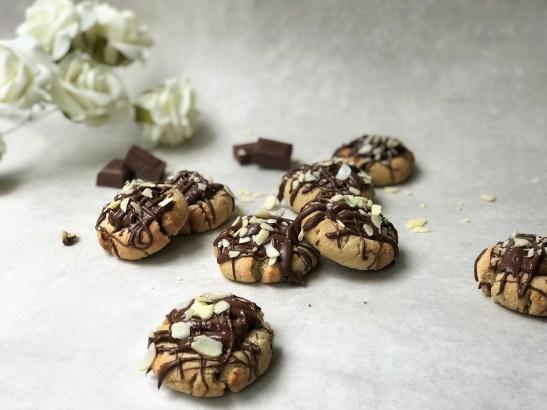 Chocolate Almond Salted Caramel Thumbprint Cookies