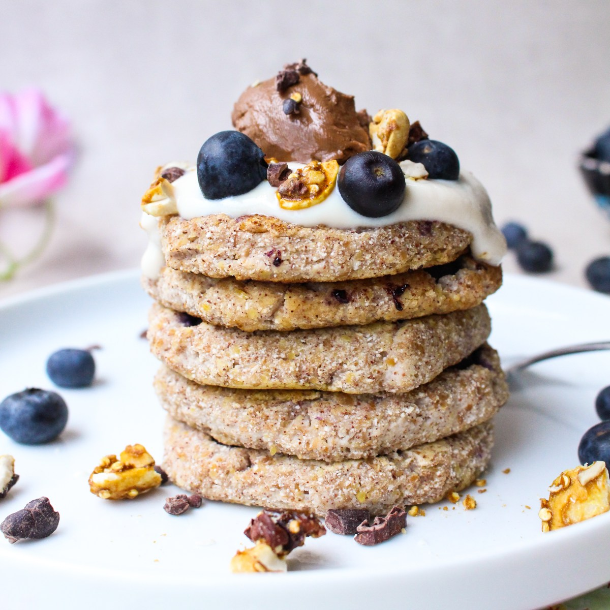 Coconut Blueberry and Cinnamon Pancakes