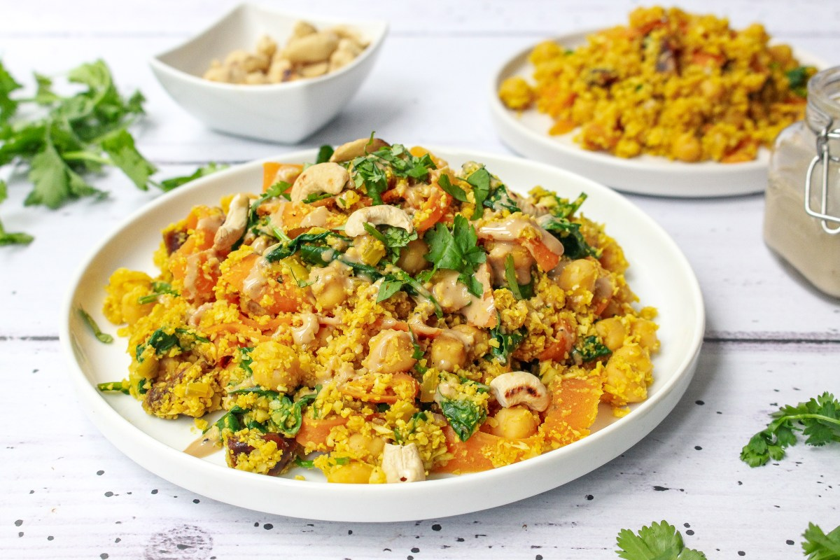 Moroccan Cauliflower Rice with Dates Toasted Cashews and Tahini