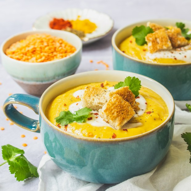 Creamy Spiced Red Lentil and Carrot Soup