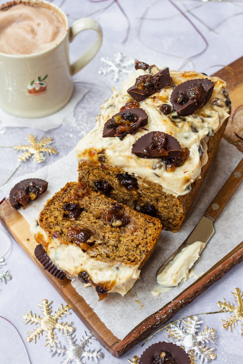Mince Pie Banana Bread with Cream Cheese Frosting