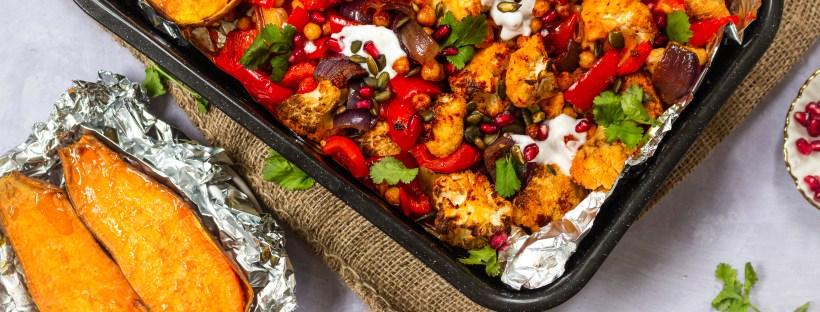 Roasted Red Pepper and Cauliflower Harissa Traybake