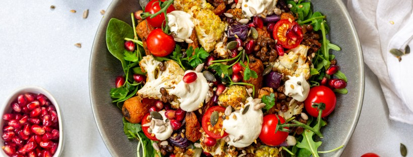 Roasted Cumin Carrot Lentil Salad with Cashew Cheese