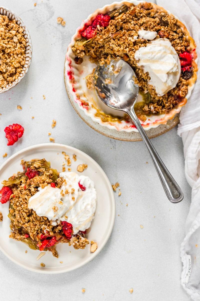 Rhubarb and Raspberry Crisp (Vegan GF)
