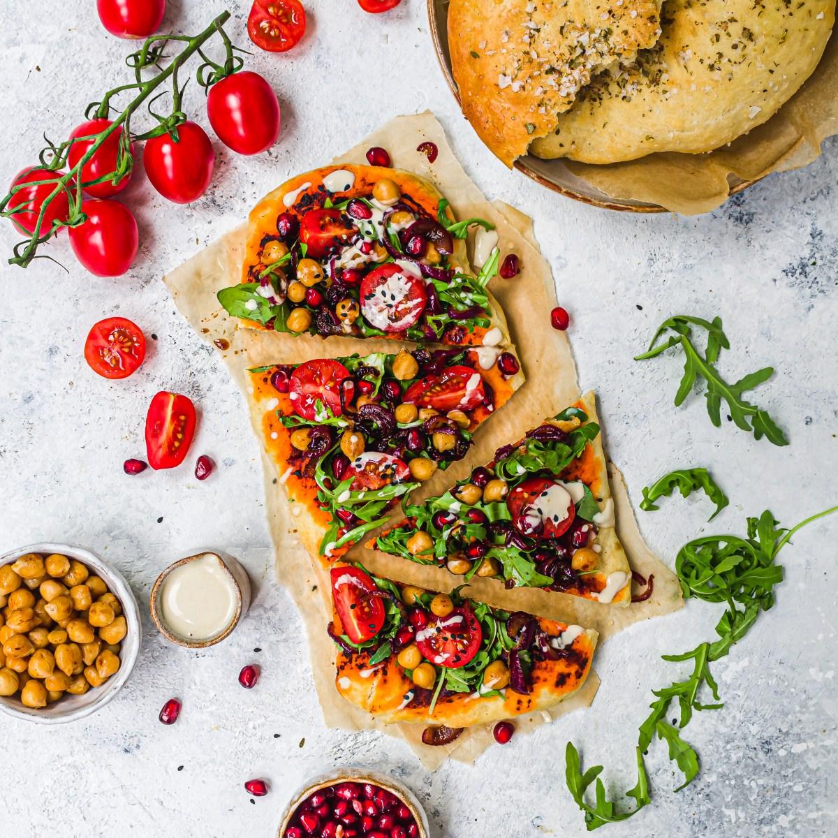 Harissa Chickpea Pitta Bread Pizzas with Tahini