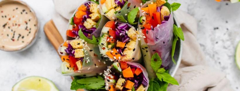 Vegan Omelette Summer Rolls with Creamy Miso Tahini