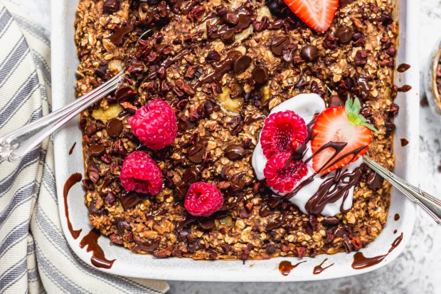 Triple Chocolate Brownie Baked Oats