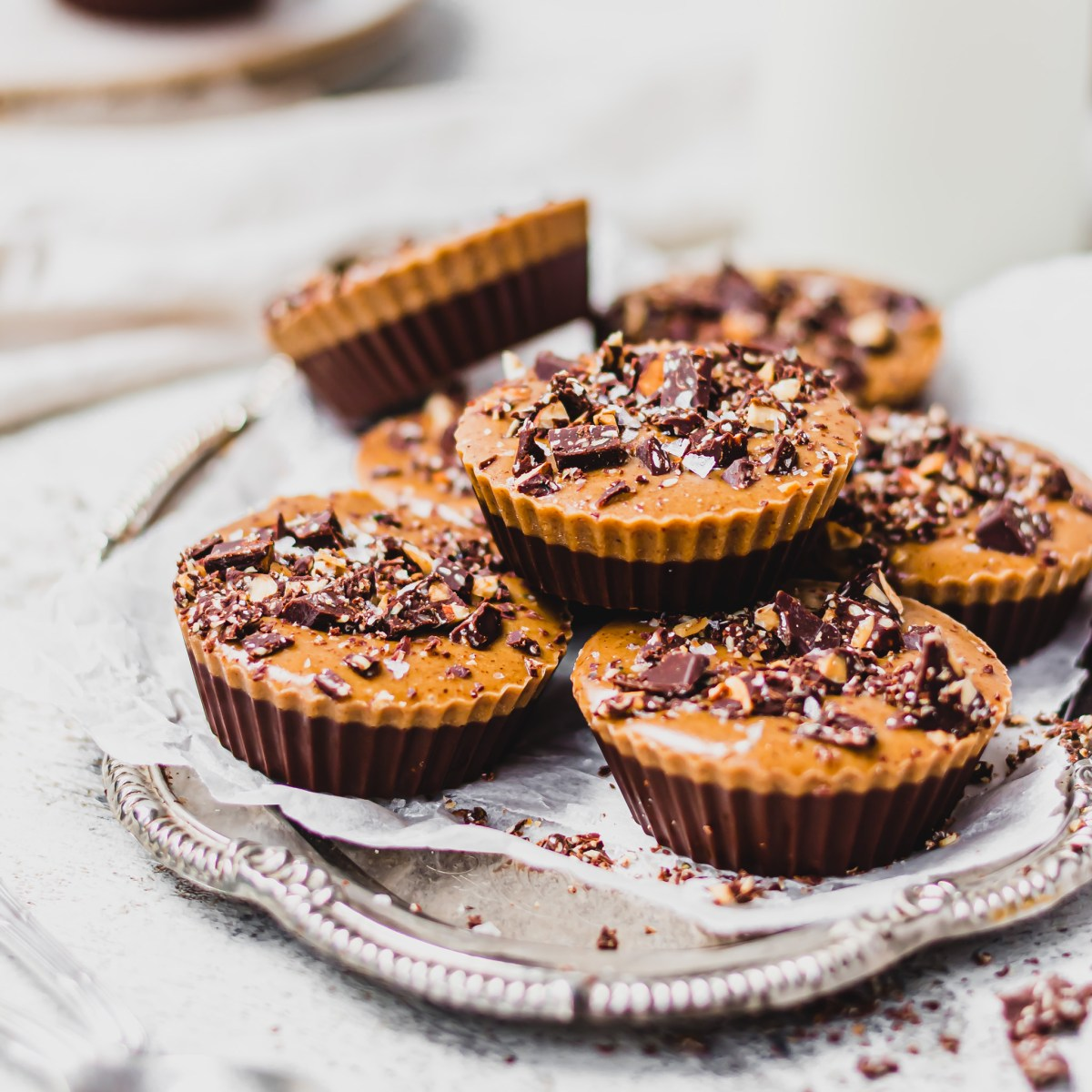 Salted Chocolate Almond Butter Fudge Cups