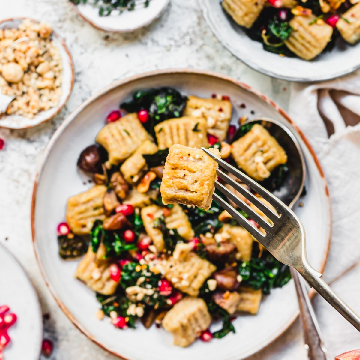 Parsnip Gnocchi with Chestnuts and Kale