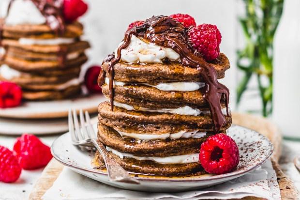 Raspberry Tiramisu Pancakes