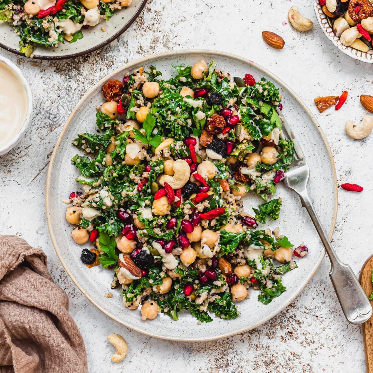 Garlicky Kale Tahini and Almond Salad