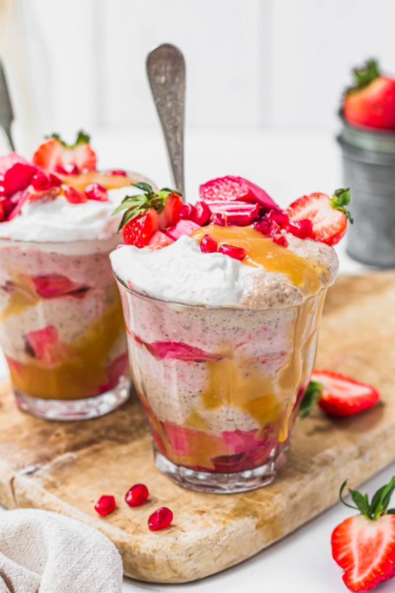 Strawberry Rhubarb and Butterscotch Oat Jars