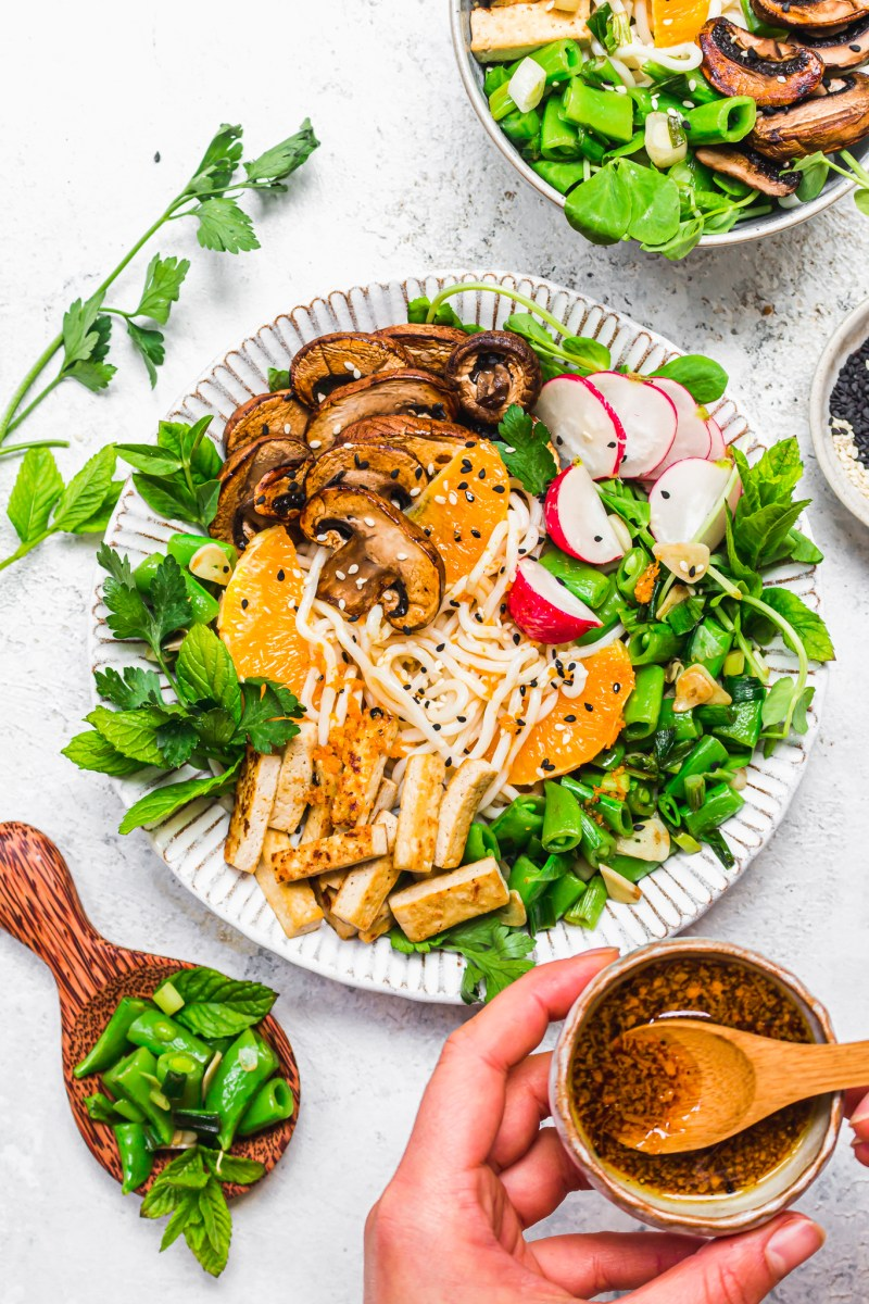 Citrus Sesame Mushroom Noodle Bowl