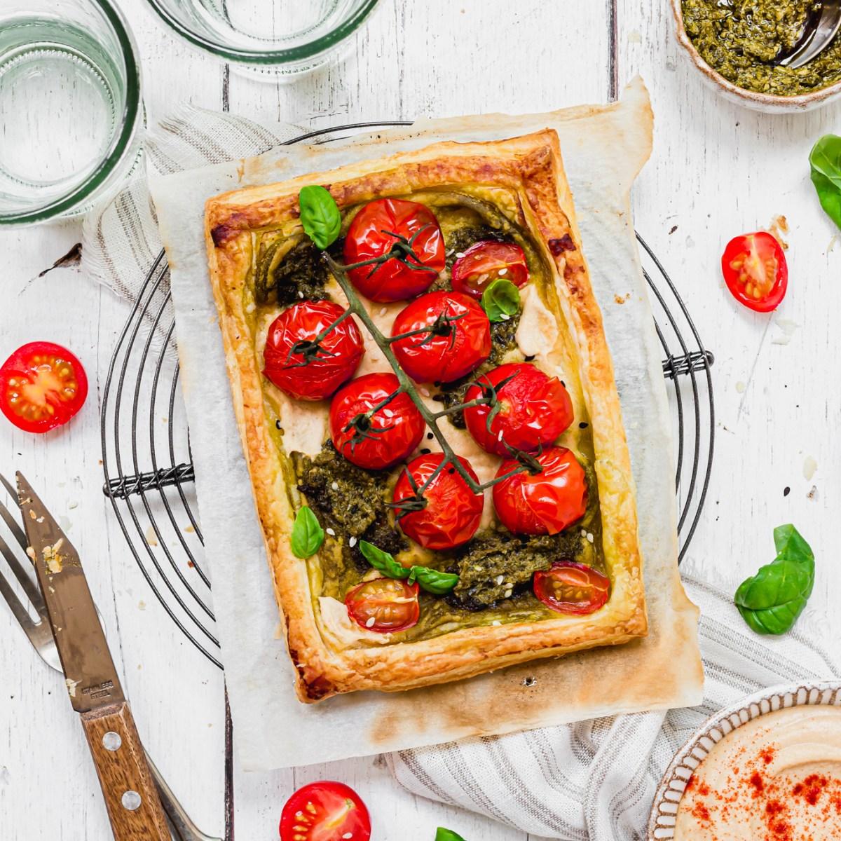 Hummus Pesto and Tomato Puff Pastry Tarts