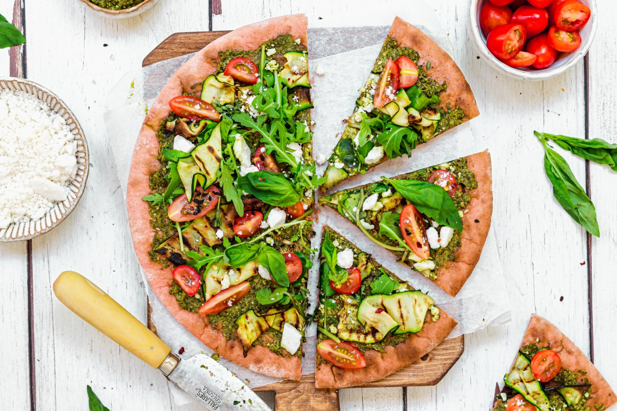 Beetroot Pesto and Courgette Pizza with Feta