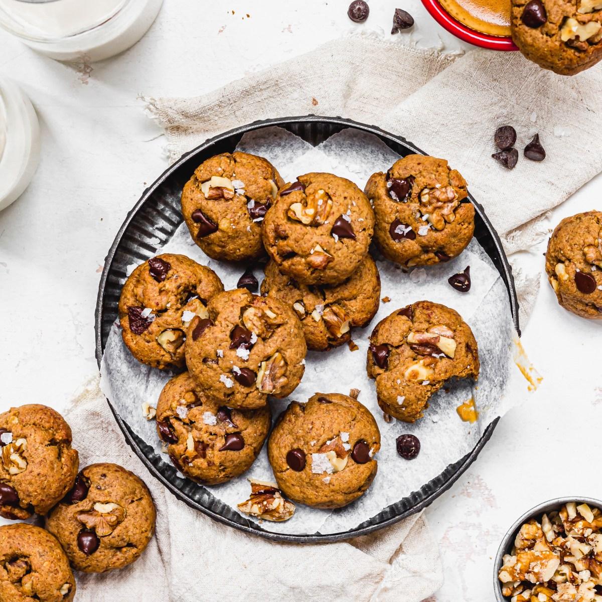 Coffee Walnut Chocolate Chip Mini Cookies