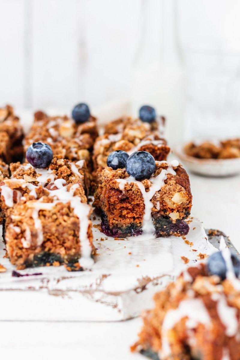 Blueberry Streusel Cake side on