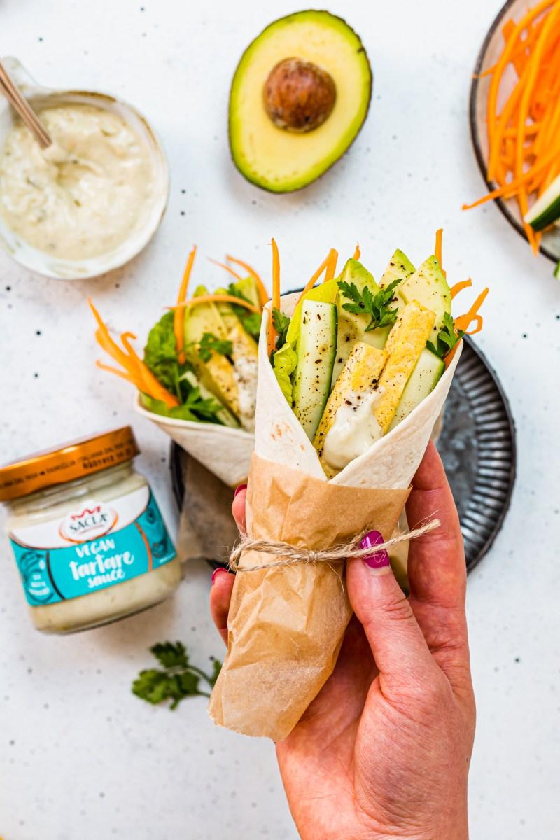 Tofu Veggie Wraps with Tartare Sauce hand held