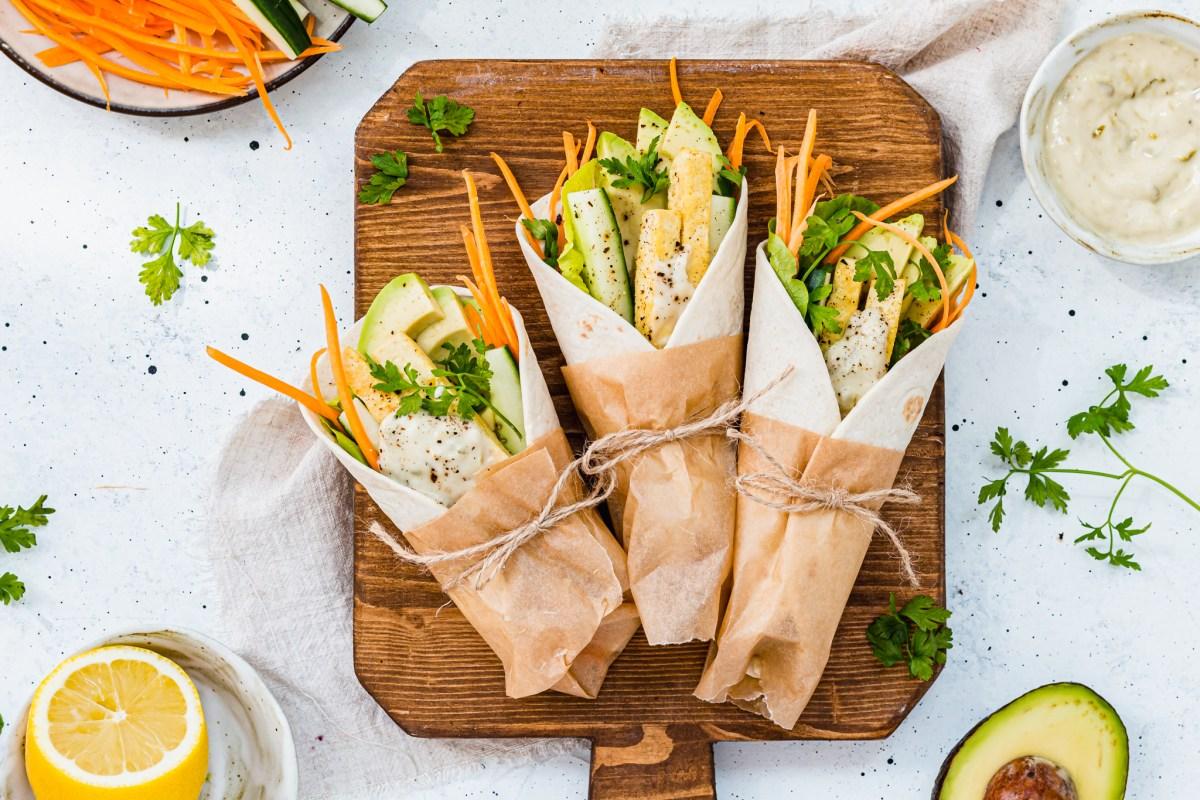 Tofu Veggie Wraps with Tartare Sauce landscape imgae