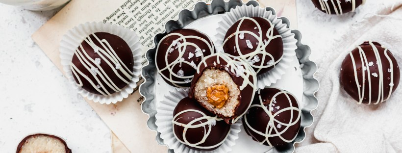 Landscape image of Chocolate Salted Caramel Cake Balls