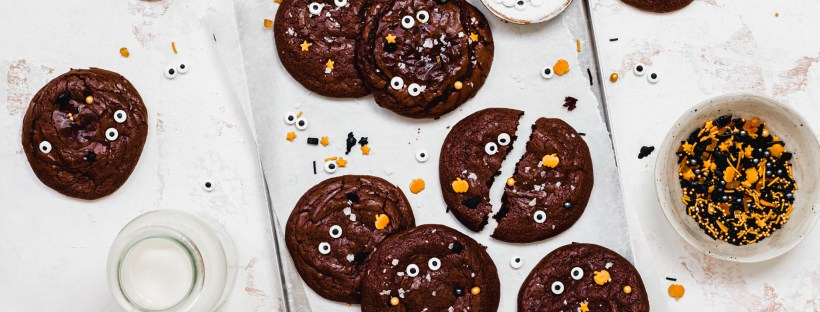 Fudgy Monster Chocolate Cookies on a tray