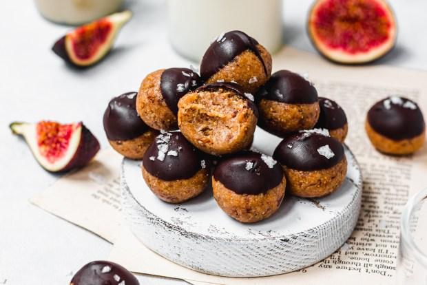 Stack of Tahini Fig and Chocolate Bliss Balls