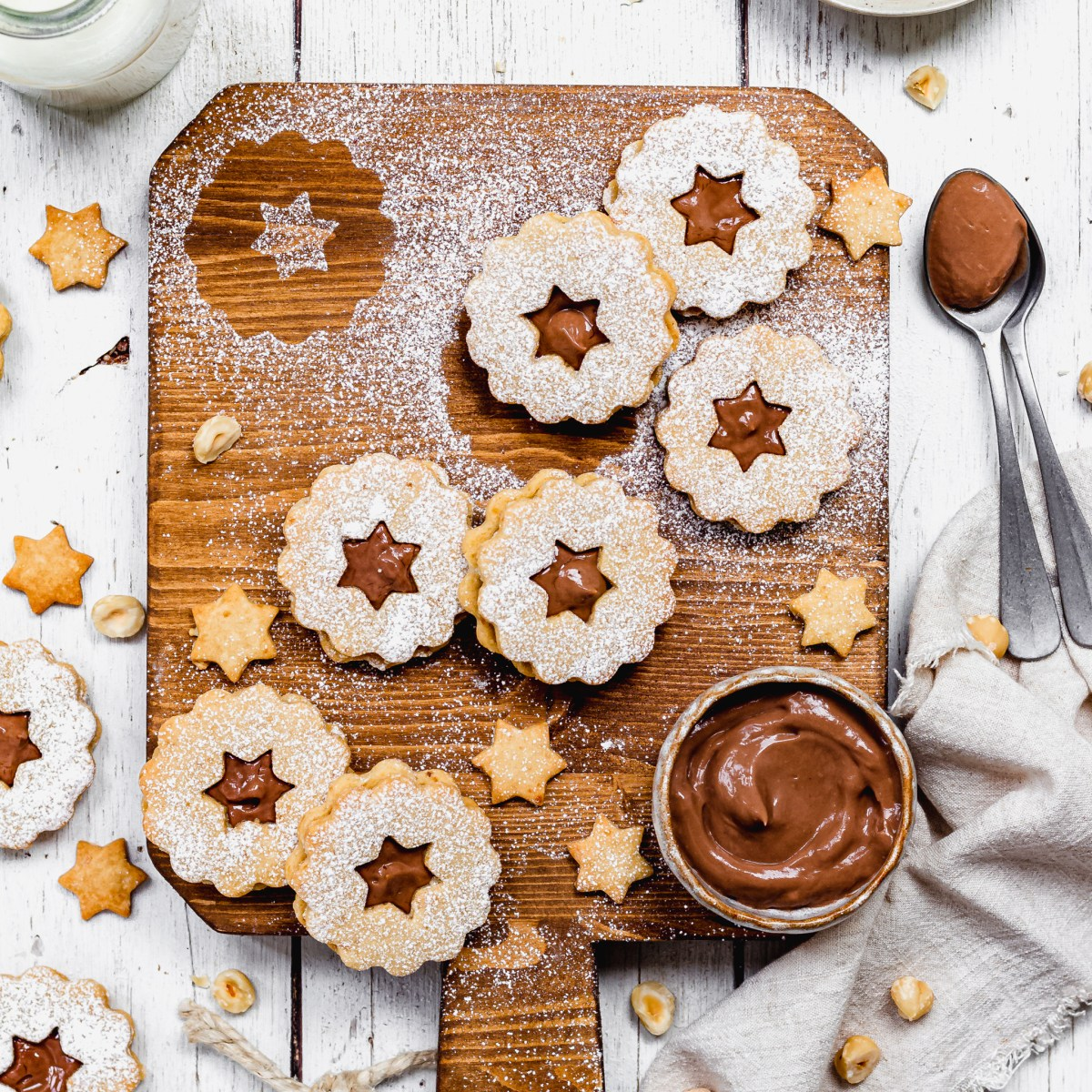 Square photo of Chocolate Hazelnut Linzer Cookies