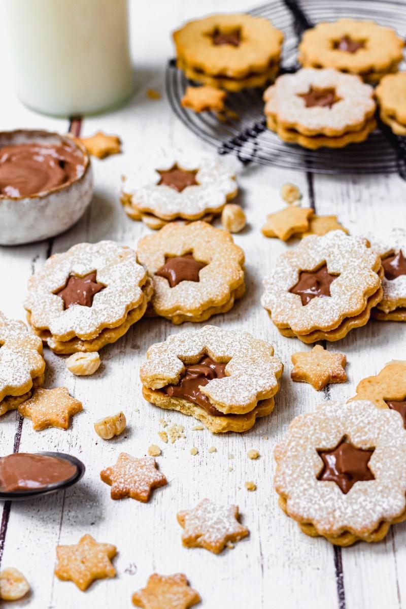 A bitten Chocolate Hazelnut Linzer Cookie