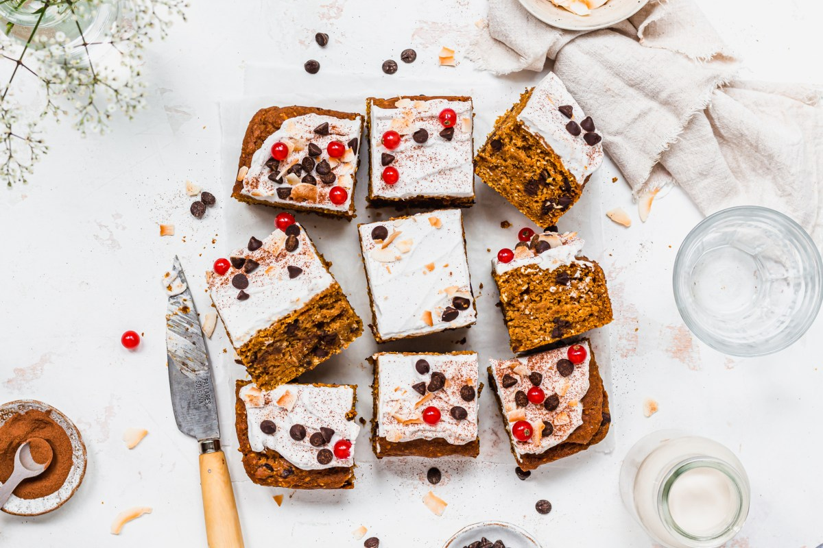 Landscape image of Pumpkin Chocolate Chip and Coconut Cake