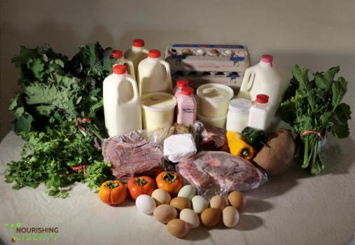 An example of the food choices available through a buying club. Milk, meats, veggies, eggs.