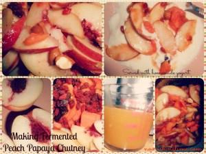 Making fermented peach papaya chutney
