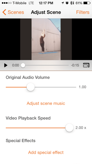 You can select how fast you want your video to go or even create slow motion.
