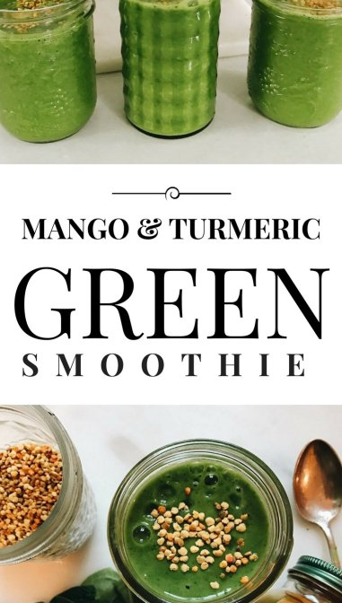 Don't like eating your greens? I promise you, this turmeric and mango green smoothie will make it easy! Click through to read more, or pin to save for later!