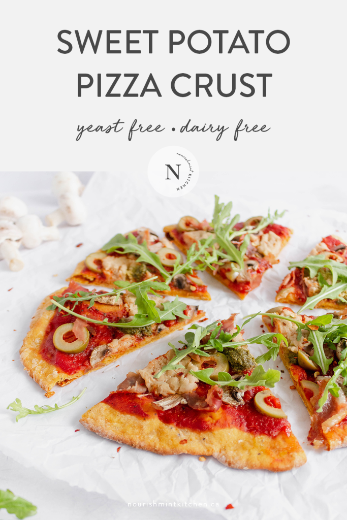 This simple sweet potato pizza crust is yeast-free, dairy-free and can be made gluten-free as well! This thin-crust pizza crust is perfectly crispy, and can be par-baked and frozen ahead of time for easy week night pizza dinners.