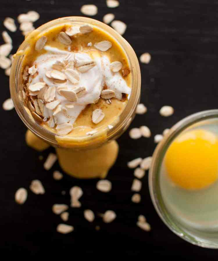 High Protein Pumpkin Pie Smoothie | ad | Nourish Nutrition Co | www.nourishnutritionblog.com