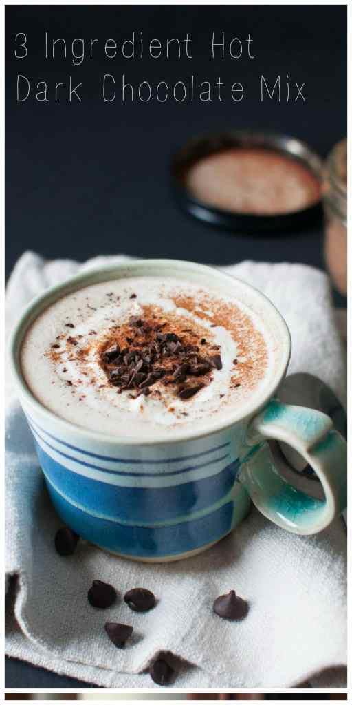 3 Ingredient Dark Hot Chocolate Mix | Dark Chocolate + Unsweetened Cocoa + Truvia = the perfect Holiday Gift | www.nourishnutritionblog.com