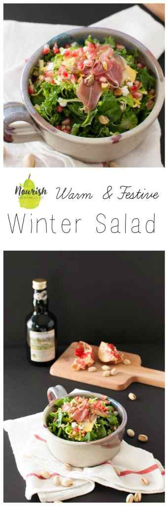 Warm Winter Salad | quick sauteed kale and brussels sprouts topped with delicious seasonal toppings makes for the perfect way to warm up with your favorite vegetables | www.nourishnutritionblog.com