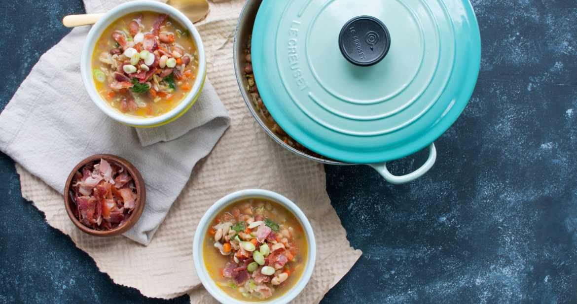 Budget Friendly Hearty Bacon and Bean Soup, it's easy, quick to throw together, and then simmer the crap out of, and incredibly affordable at ~$1.66/serving | www.nourishnutritionblog.com