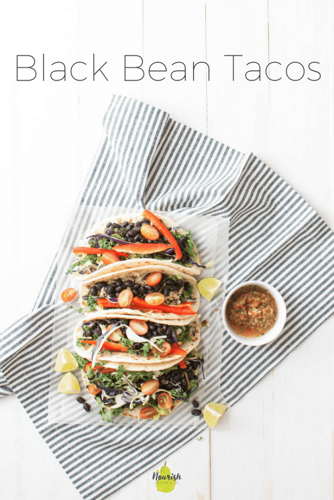 Black Bean Tacos | quick and vegetarian tacos for Taco Tuesday | www.nourishnutritionblog.com | for The Recipe Redux